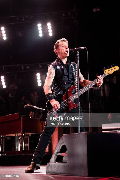 Mike Dirnt of Green Day performs onstage at the Verizon Wireless Amphitheatre on August 31 2010 in Irvine California