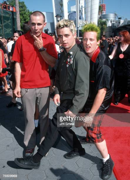Mike Dirnt Tre Cool and Billie Joe Armstrong of Green Day at the Universal Amphitheatre in Universal City California