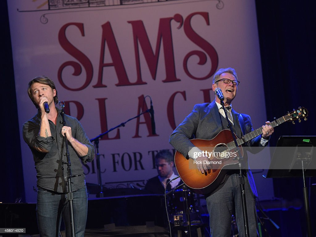 Mike Donehey Tenth Avenue North and Steven Curtis Chapman perform at the first of six monthly concerts hosted by Steven Curtis Chapman, Sam's Place - Music For The Spirit at Ryman Auditorium on November 2, 2014 in Nashville, Tennessee.