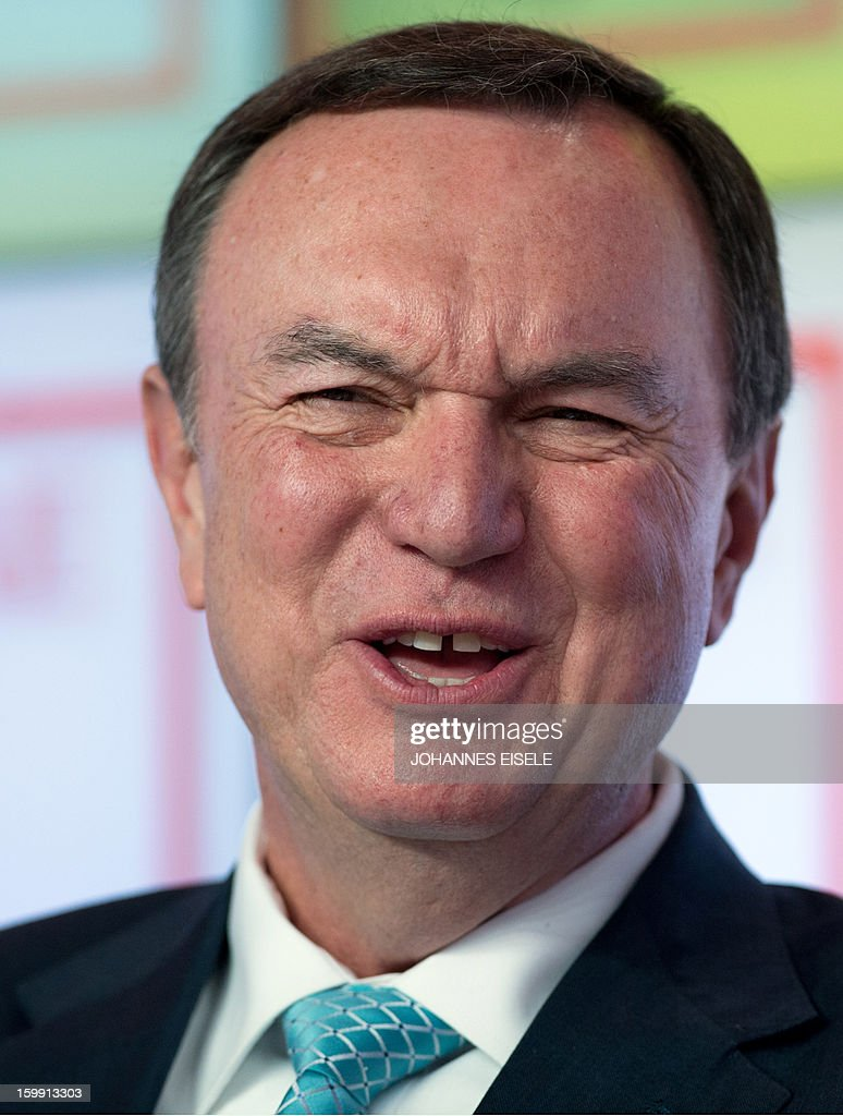 Mike Duke, President and CEO of Wal-Mart Stores, attends a discussion panel during the 2013 World Economic Forum Annual Meeting on January 23, 2013, at the Swiss resort of Davos. The World Economic Forum (WEF) is taking place from January 23 to 27.
