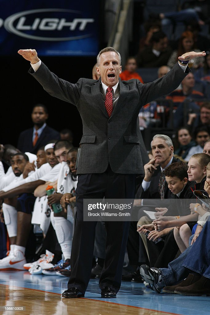 <a gi-track='captionPersonalityLinkClicked' href=/galleries/search?phrase=Mike+Dunlap&family=editorial&specificpeople=3957174 ng-click='$event.stopPropagation()'>Mike Dunlap</a>, Coach of the Charlotte Bobcats during the game against the Toronto Raptors at the Time Warner Cable Arena on November 21, 2012 in Charlotte, North Carolina.