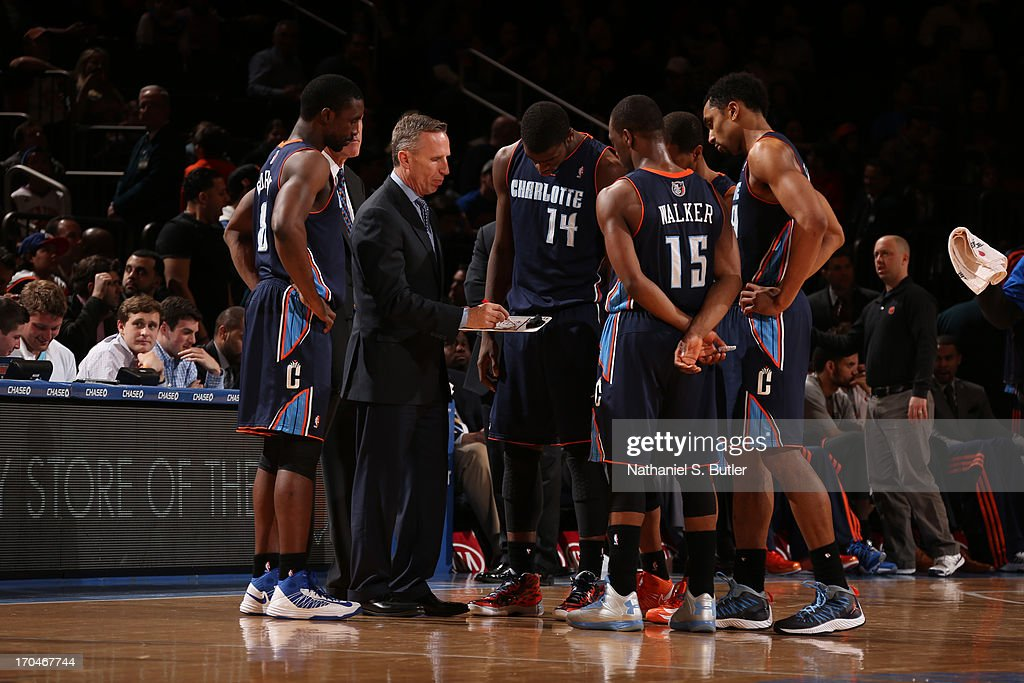 Mike Dunlap, Head Coach of teh Charlotte Bobcats draws up a play during the game against the New York Knicks on March 29, 2013 at Madison Square Garden in New York City.