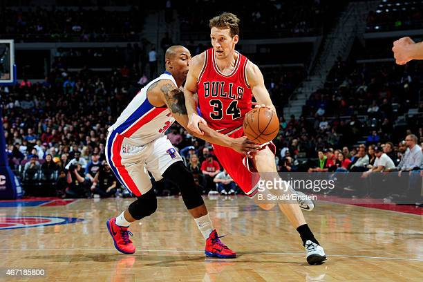 Mike Dunleavy of the Chicago Bulls handles the ball against the Detroit Pistons on March 21 2015 at the Palace of Auburn Hills in Auburn Hills...