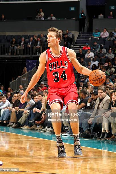Mike Dunleavy of the Chicago Bulls handles the ball during the game against the Charlotte Hornets on February 8 2016 at Time Warner Cable Arena in...