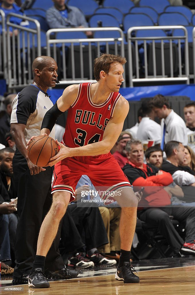 <a gi-track='captionPersonalityLinkClicked' href=/galleries/search?phrase=Mike+Dunleavy&family=editorial&specificpeople=201802 ng-click='$event.stopPropagation()'>Mike Dunleavy</a> #34 of the Chicago Bulls looks to pass the ball against the Orlando Magic during the game on January 15, 2014 at Amway Center in Orlando, Florida.