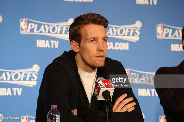 Mike Dunleavy of the Chicago Bulls speaks with the media after the win against the Milwaukee Bucks in Game Six of the Eastern Conference...