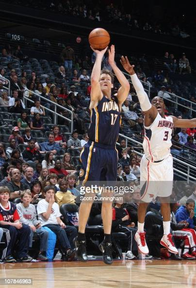 Mike Dunleavy of the Indiana Pacers shoots the ball during a game against the Atlanta Hawks on December 11 2010 at Philips Arena in Atlanta Georgia...