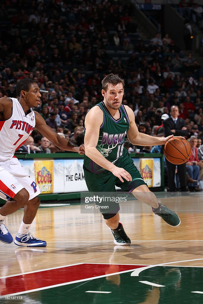 Mike Dunleavy #17 of the Milwaukee Bucks handles the ball against Brandon Knight #7 of the Detroit Pistons on February 9, 2013 at the BMO Harris Bradley Center in Milwaukee, Wisconsin.