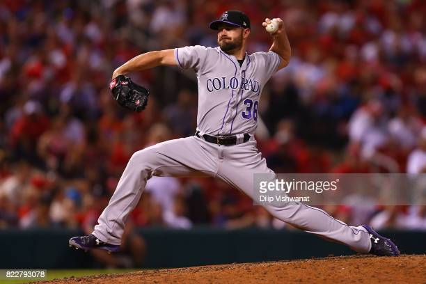 Mike Dunn of the Colorado Rockies delivers a pitch against the St Louis Cardinals in the sixth inning at Busch Stadium on July 25 2017 in St Louis...