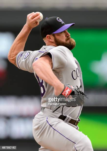 Mike Dunn of the Colorado Rockies delivers a pitch against the Minnesota Twins during game one of a doubleheader on May 18 2017 at Target Field in...