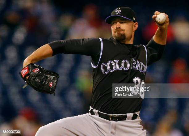 Mike Dunn of the Colorado Rockies in action against the Philadelphia Phillies during a game at Citizens Bank Park on May 24 2017 in Philadelphia...