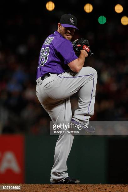 Mike Dunn of the Colorado Rockies pitches against the San Francisco Giants during the seventh inning at ATT Park on June 26 2017 in San Francisco...