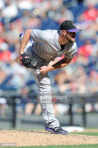 Mike Dunn of the Colorado Rockies pitches against the Washington Nationals at Nationals Park on July 30 2017 in Washington DC