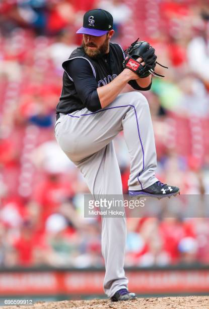 Mike Dunn of the Colorado Rockies pitches during the game against the Cincinnati Reds at Great American Ball Park on May 20 2017 in Cincinnati Ohio