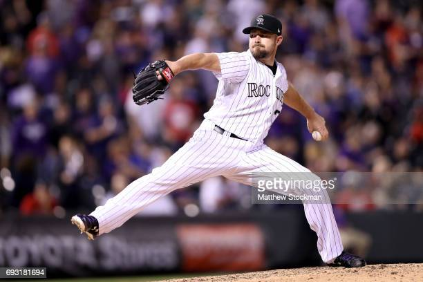 Mike Dunn of the Colorado Rockies throws in the ninth inning against the Cleveland Indians at Coors Field on June 6 2017 in Denver Colorado