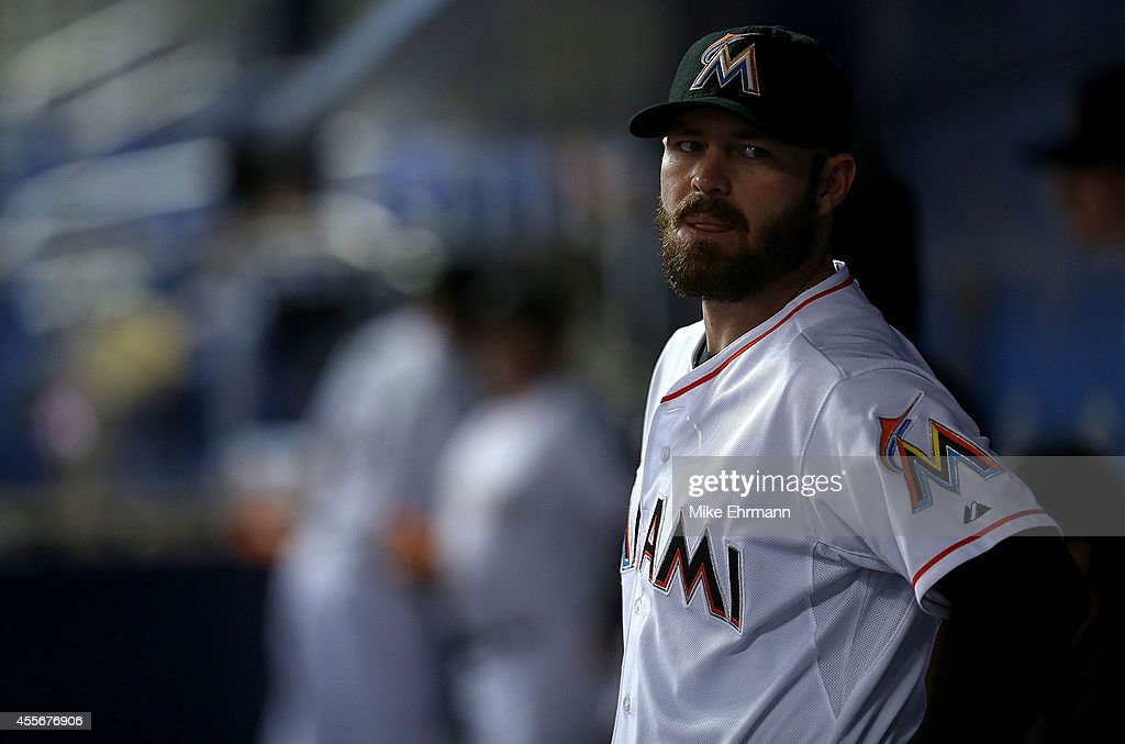 Mike Dunn #40 of the Miami Marlins looks on during a game against the Washington Nationals at Marlins Park on September 18, 2014 in Miami, Florida.