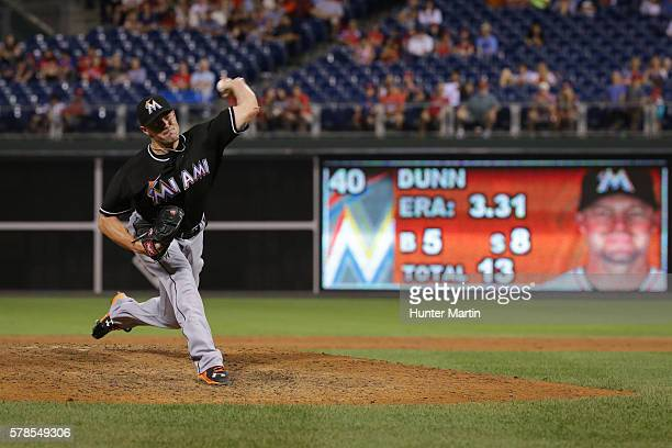 Mike Dunn of the Miami Marlins throws a pitch in the ninth inning during a game against the Philadelphia Phillies at Citizens Bank Park on July 21...