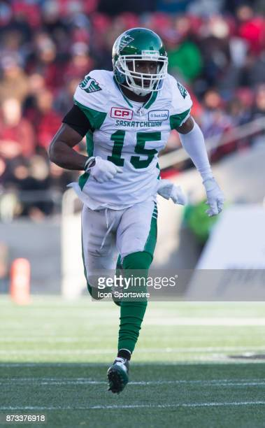 Mike Edem of the Saskatchewan Roughriders plays on special teams against the Ottawa Redblacks in Canadian Football League play during the CFL East...