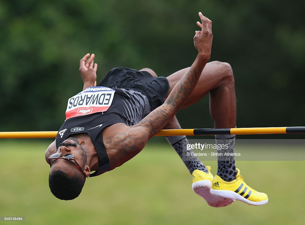 Mike Edwards of Great Britain competes in the men's high jump final on day three of the British Championships Birmingham at Alexander Stadium on June 26, 2016 in Birmingham, England.