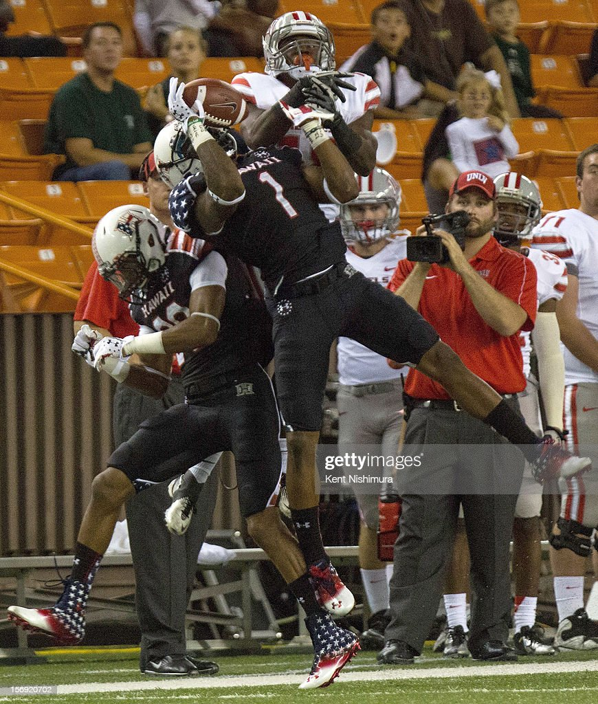Mike Edwards #1 of the Hawaii Warriors intercepts a pass during a NCAA college football game between the UNLV Rebels and the Hawaii Warriors on November 24, 2012 at Aloha Stadium in Honolulu, Hawaii.
