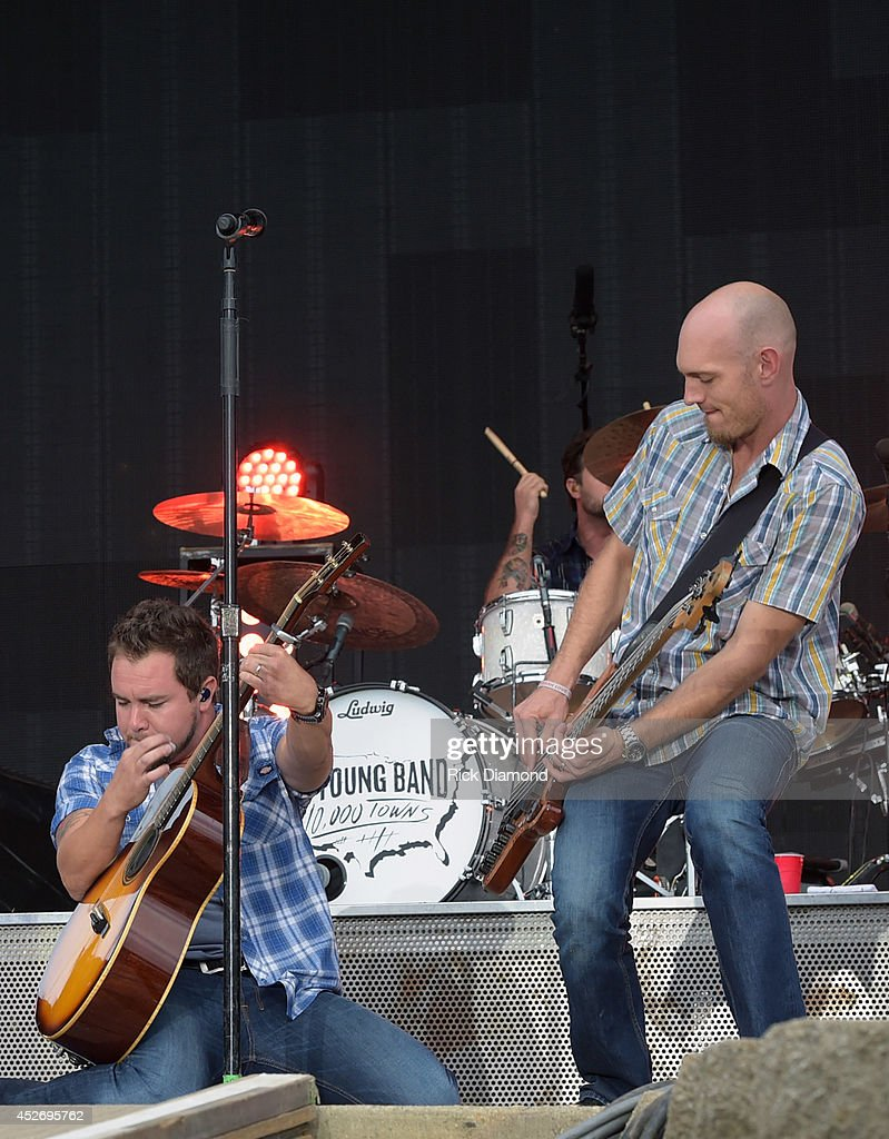 Mike Eli and Jon Jones of Eli Young Band perform at Country Thunder USA - Day 2 on July 25, 2014 in Twin Lakes, Wisconsin.