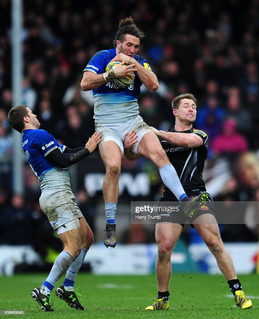 Mike Ellery of Saracens wins the aerial ball ahead of Sam Hill of Exeter Chiefs during the Aviva Premiership match between Exeter Chiefs and Saracens at Sandy Park on February 7, 2016 in Exeter, England.