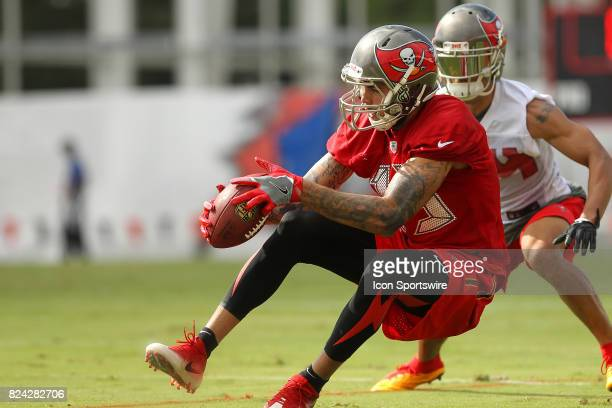 Mike Evans makes a catch as he falls backwards in front of cornerback Brent Grimes during the Tampa Bay Buccaneers Training Camp on July 29 2017 at...
