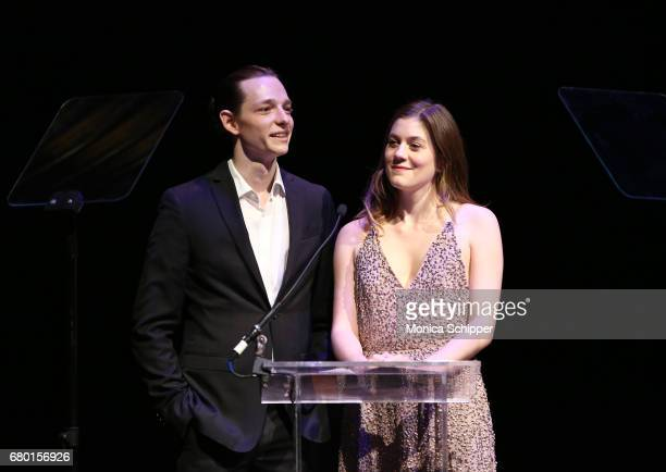 Mike Faist and Laura Dreyfuss speaks on stage during 32nd Annual Lucille Lortel Awards at NYU Skirball Center on May 7 2017 in New York City
