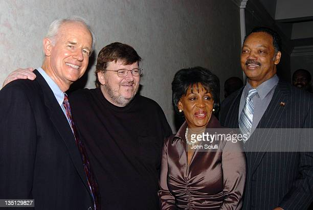 Mike Farrell Michael Moore Congresswoman Maxine Waters and Rev Jesse Jackson
