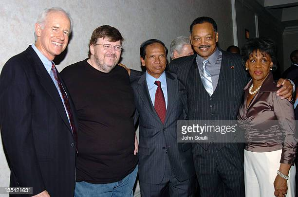Mike Farrell Michael Moore Dr Nazir U Khaja Rev Jesse Jackson and Congresswoman Maxine Waters