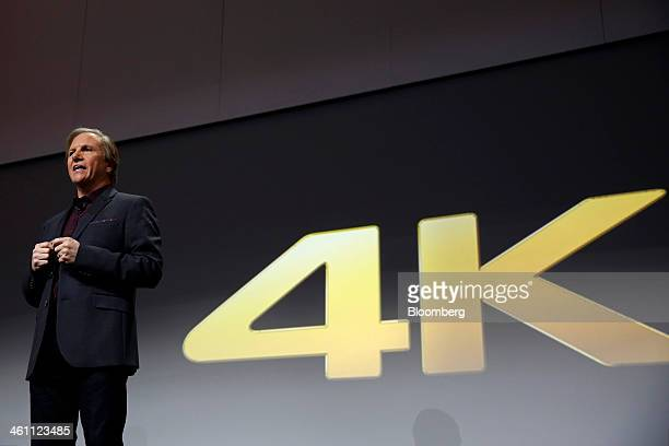 Mike Fasulo president of Sony Electronics Inc speaks about 4K resolution devices and content during a news conference at the 2014 Consumer...