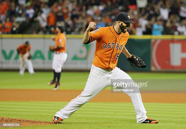Mike Fiers of the Houston Astros celebrates an out in the eighth inning during their game against the Los Angeles Dodgers at Minute Maid Park on...