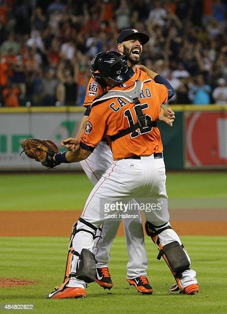 Mike Fiers of the Houston Astros celebrates with his catcher Jason Castro after tossing a nohitter en route to the Astros defeating the Los Angeles...