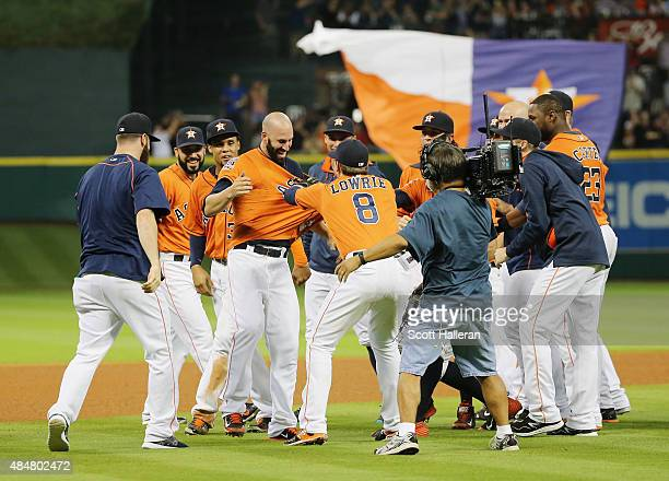 Mike Fiers of the Houston Astros celebrates with his teammates tossing a nohitter en route to the Astros defeating the Los Angeles Dodgers 30 at...