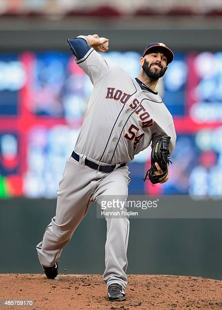 Mike Fiers of the Houston Astros delivers a pitch against the Minnesota Twins during the second inning of the game on August 29 2015 at Target Field...