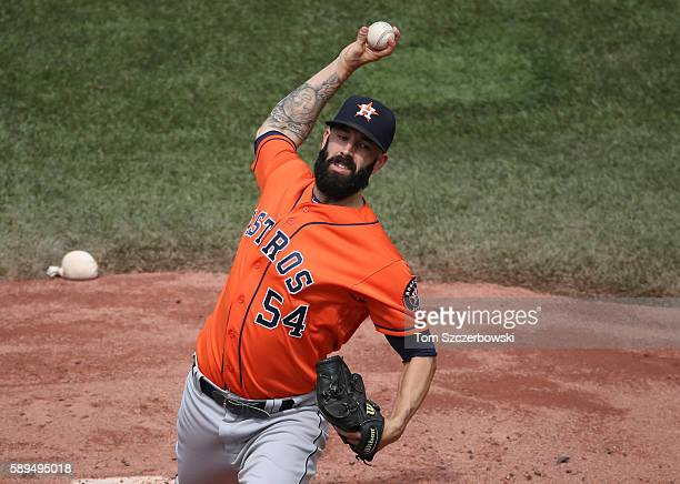 Mike Fiers of the Houston Astros delivers a pitch in the first inning during MLB game action against the Toronto Blue Jays on August 14 2016 at...