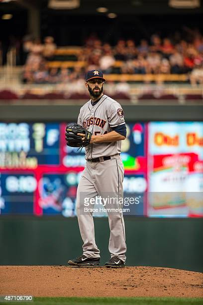 Mike Fiers of the Houston Astros pitches against the Minnesota Twins on August 29 2015 at Target Field in Minneapolis Minnesota The Astros defeated...