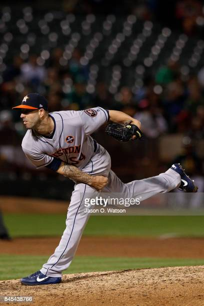 Mike Fiers of the Houston Astros pitches against the Oakland Athletics during the sixth inning at the Oakland Coliseum on September 8 2017 in Oakland...