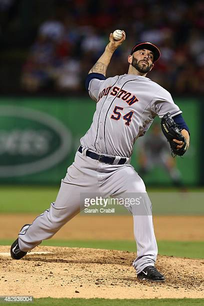 Mike Fiers of the Houston Astros pitches during a game against the Texas Rangers at Globe Life Park in Arlington on August 3 2015 in Arlington Texas...