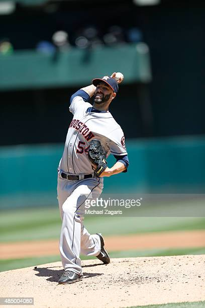 Mike Fiers of the Houston Astros pitches during the game against the Oakland Athletics at Oco Coliseum on August 9 2015 in Oakland California The...