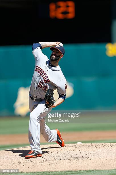 Mike Fiers of the Houston Astros pitches during the game against the Oakland Athletics at Oco Coliseum on September 7 2015 in Oakland California The...