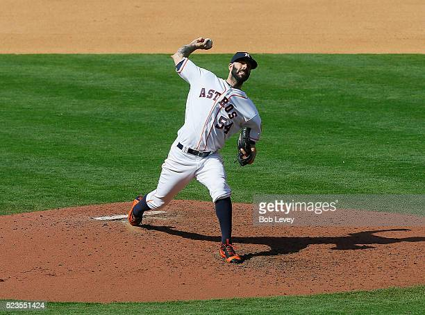 Mike Fiers of the Houston Astros pitches in the fifth inning against the Boston Red Sox at Minute Maid Park on April 23 2016 in Houston Texas