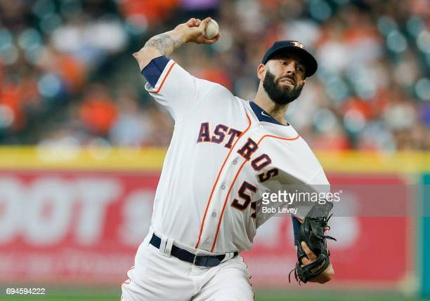 Mike Fiers of the Houston Astros pitches in the first inning against the Los Angeles Angels of Anaheim at Minute Maid Park on June 10 2017 in Houston...