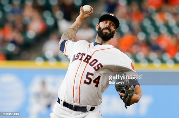 Mike Fiers of the Houston Astros pitches in the first inning against the Tampa Bay Rays at Minute Maid Park on August 1 2017 in Houston Texas
