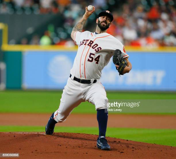Mike Fiers of the Houston Astros pitches in the first inning against the Washington Nationals at Minute Maid Park on August 23 2017 in Houston Texas