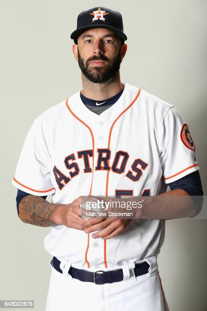 Mike Fiers of the Houston Astros poses for a portrait during Houston Astros Photo Day at The Ballpark of the Palm Beaches on February 19 2017 in West...