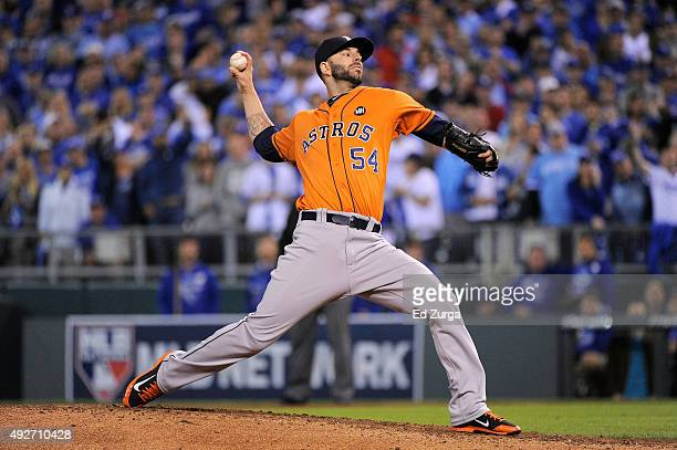 Mike Fiers of the Houston Astros throws a pitch in the fifth inning against the Kansas City Royals during game five of the American League Divison...