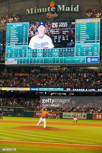 Mike Fiers of the Houston Astros throws a pitch in the ninth inning during their game against the Los Angeles Dodgers at Minute Maid Park on August...