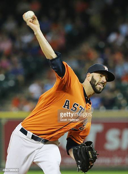 Mike Fiers of the Houston Astros throws a pitch in the second inning during their game against the Los Angeles Dodgers at Minute Maid Park on August...