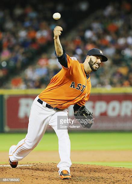 Mike Fiers of the Houston Astros throws a pitch in the third inning during their game against the Los Angeles Dodgers at Minute Maid Park on August...